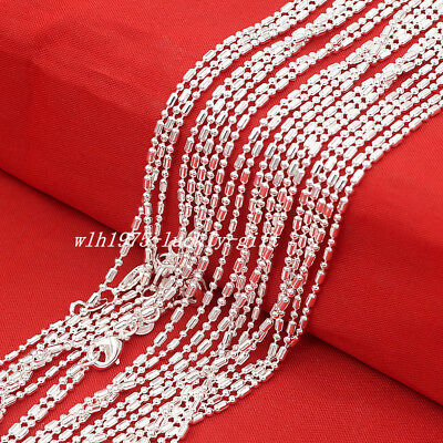 """Wholesale Lots 5Pcs 925 Sterling Solid Silver Bar & Bead Chain Necklace 16""""-30"""""""