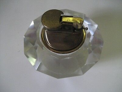 Vintage Faceted Clear Cut Glass Crystal Table Top Gas Cigarette / 1Cigar Lighter