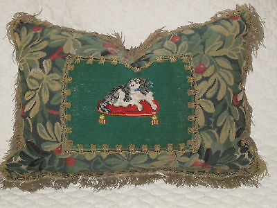 ANTIQUE NEEDLEPOINT PILLOW OF CAVALIER KING CHARLES with  ANTIQUE METALLIC TRIM