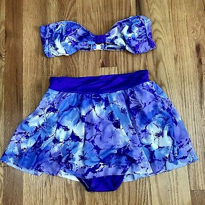 Vtg Sabbia 2 Piece Highwasted Swim Suit Skirt Bikini Sz 14 Floral Purple AP