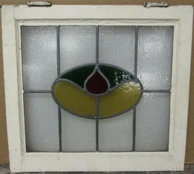 "OLD ENGLISH LEADED STAINED GLASS WINDOW Cute Abstract Design 21.75"" x 19.75"""
