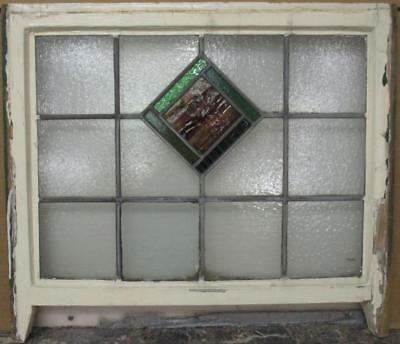 "ENGLISH LEADED STAINED GLASS SASH WINDOW Pretty Diamond Design 26.75"" x 20.5"""