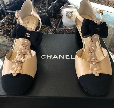 85e24982c5 Chanel 17C Pearl Cameilla T Strap Cap Toe Bow Block Heel Sandals Shoes $1175