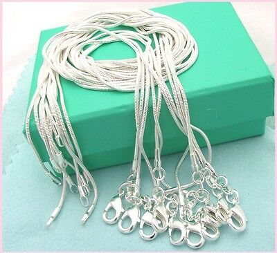 10PCS Wholesale 925 Sterling plated Silver 1MM Snake Chain Necklace 16-30inch