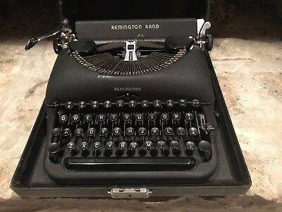 Vintage Remington Rand De Luxe Model 5 Portable Typewriter With Case*clean*
