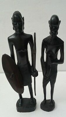 Pair of 11.5 inch Ebony Wood Maasai Hand Carved Sculptures Statues from Africa