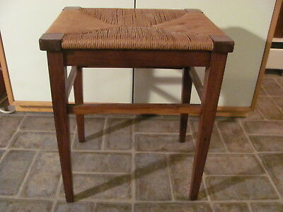 Conant Ball Stool or Bench with Woven Seat 4 Legs Label Excellent Condition