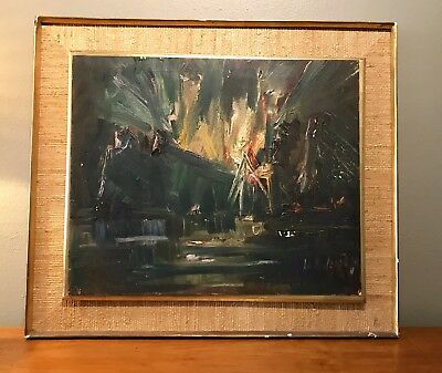 Mid Century Abstract Cityscape Modernist Nierman Vintage Oil Painting