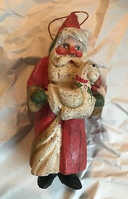 House of Hatten ~ 1988 ~ Santa Holding a Duck ~ Ornament ~ Very Good Used Cond.