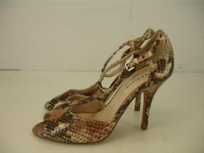 2f32d123ab $395 L.K. Bennett Womens 8 8.5 sz 38.5 Snakeskin T-Strap Sandals Shoes Pump  Heel