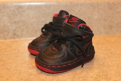 ea5844668e Infant Boys Nike Baby Force 1 Black & Red Leather High Top Sneakers Shoes  sz 2c