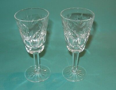 Waterford Signed ASHLING CUT White Wine Water Glass Set of Two Cut Crystal