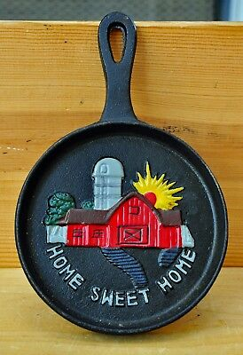 Vintage Mini Cast Iron Skillet Farm Life Collection Home Sweet Home Wall Hanger