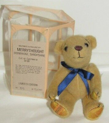 Merrythought Cutie Cashmere Bear Light Tan Limited Edition 59/500