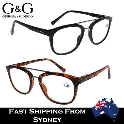 G&G Reading Glasses Men Women Aviator Spring Loaded Black Tortoise+1.0 to +3.5