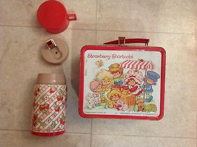 Strawberry Shortcake Metal Lunch Box 1981 With Thermos