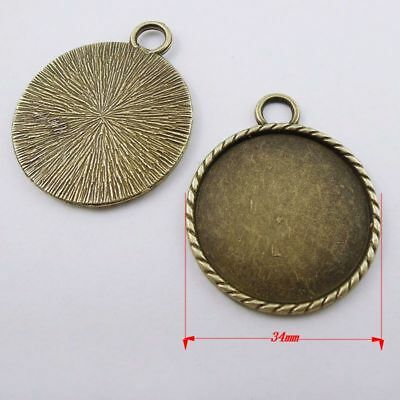 12pcs Antique Bronze Metal Round Bezels Frame Charms Necklace Pendants Findings