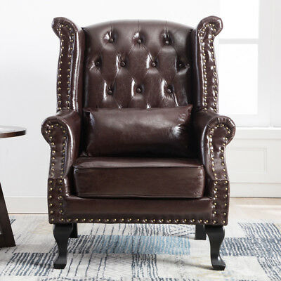 Retro Chesterfield Armchair Queen Anne High Back Wing Chair Brown PU Leather UK