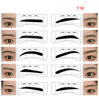 96 Pairs Eyebrow Brow Stencil Sticker Template Card Set ABS for Eyebrow Makeup