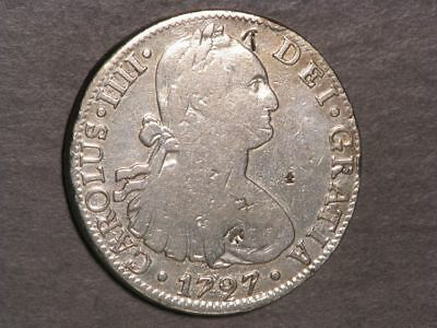 MEXICO 1797MoFM 8 Reales Silver Crown Fine - Chopmarks