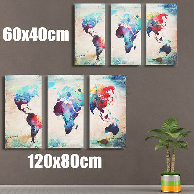 Modern Canvas Print World Map Home Decor Wall Art Painting Picture w/o Framed US