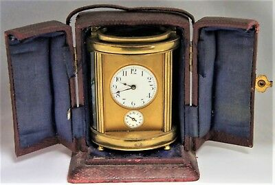 Cylindrical Brass Carriage Clock With Morocco Case (As Found Condition)