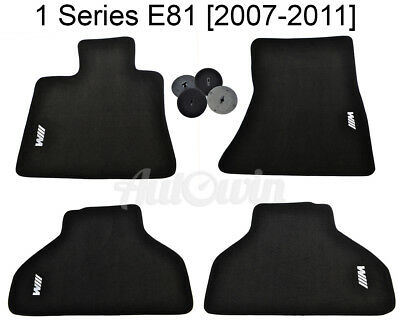 Floor Mats For BMW 1 Series E81 With White ///M Emblem and Clips NEW