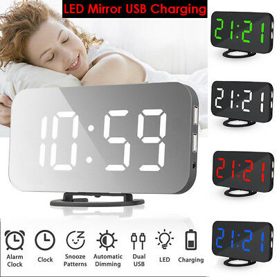 LED Digitial Table Wall Clock Large 3D Display Alarm Clock Brightness Dimmer USB
