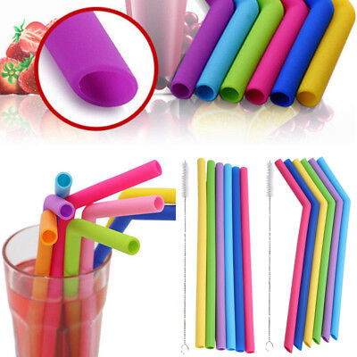 6PCS Straws Reusable Silicone Drinking Straw with Cleaning Brushes Set 2018 HG