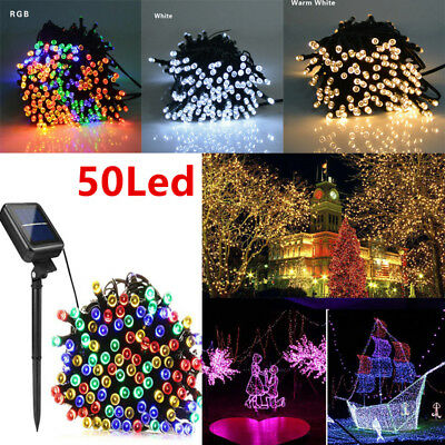 50LED Solar Power String Fairy Lights Garden Party Outdoor Christmas Decoration