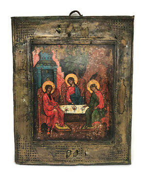 Icon Trinity Holy Russian Wooden Old Testament 130 Years Orthodox Rare Antique