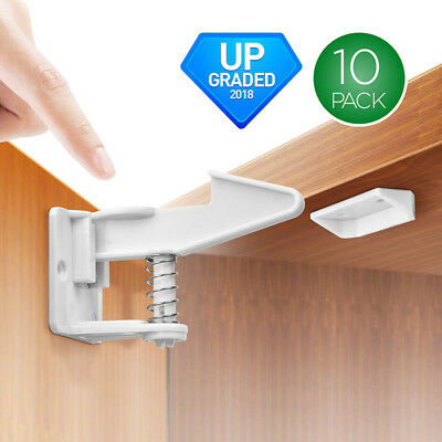 10pcs Child Safety Cabinet Locks Self Adhesive Invisible Drawer Lock Latches 3M