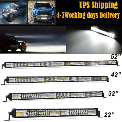 """52"""" 42"""" 32"""" 22"""" 12"""" Straight Dual Row LED Work Light Bar Driving Lamp Off-road"""