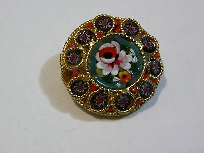 Vintage Gold Tone Micro-Mosaic Flower Glass  Millefiori Italy Pin Brooch