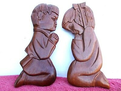 VINTAGE  PAIR  CHILDREN  HAND  CARVED  WOOD  WALL  PLAQUES  31cm.