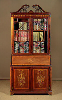 Antique Exceptional Inlaid Mahogany Bureau Bookcase by Edwards & Roberts c.1905.