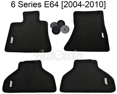 Floor Mats For BMW 6 Series E64 Black With White /// M Emblem and Clips NEW