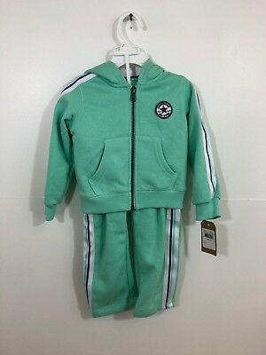CONVERSE Infant Girls 2 Piece Tracksuit Green Age 1-2 Years