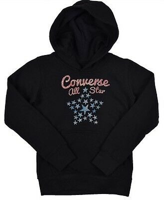 CONVERSE All Star Girls Printed Pullover Hoody Girls Black 5-6 Years BNWT