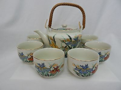Vintage  Omc Porcelain Japanese Teapot With Rattan Handle And 6 Cups Floral