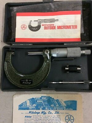 "Mitutoyo  External/Outside Micrometer 1"" To 2"" No 103-178 With Zeroing Bar"
