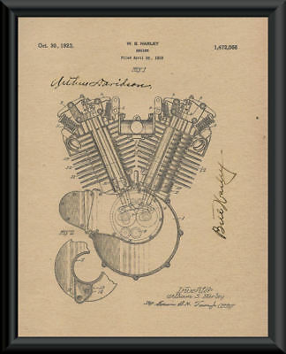 Harley & Davidson Autograph Reprint Patent of Engine On 90 Year Old Paper P056