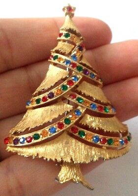 "Stunning Vintage Estate Signed Jj Rhinestone Xmas Tree 2 3/8"" Brooch!!! 1727W"