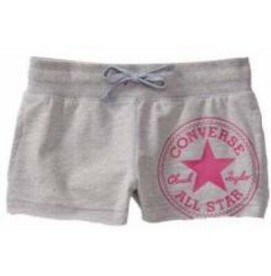 CONVERSE All Star Girls Oversized Graphic Shorts Grey / Pink 5-6 Years BNWT
