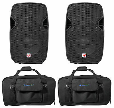 """(2) Rockville SPGN104 10"""" 1600W DJ PA Speakers 8-Ohm+Weather proof Carry Bags"""