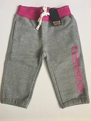 CONVERSE All Star Knit 3 Quarter Joggers Girls Grey / Deep Pink 4-5 Years BNWT
