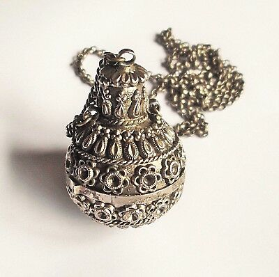 Vintage Chinese Silver Snuff Bottle Necklace