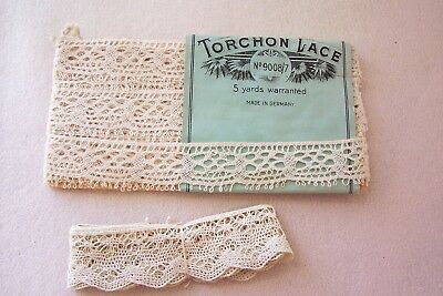2 Vtg Antique Torchon Lace Trim Made In Germany Bisque Wooden Primitive Doll