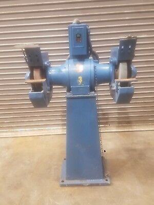 "12"" dual pedestal grinder by Setco 2hp 3ph 1800 rpm 1.25"" spindle 230 / 460 VAC"