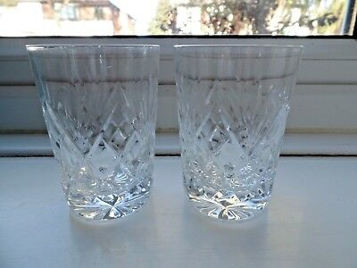 """Two Royal Brierley Crystal Glass Berkeley Pattern Whisky Tumblers 3 3/8"""""""